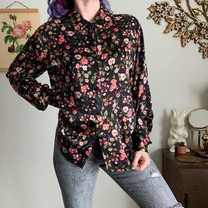 Vintage Pure Silk Floral Button Front Shirt